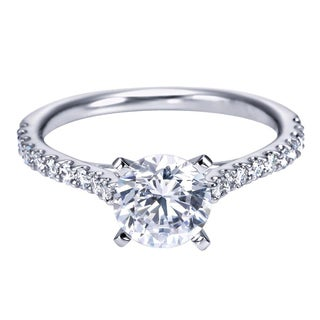 14k White Gold 1/3ct TDW Diamond and Cubic Zirconia Cathedral Engagement Ring (H-I, I1-I2)