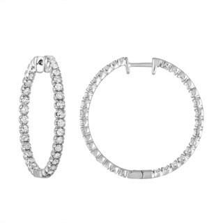 14K White Gold 2 CT TDW Diamond Inside-Out Hoop Earrings (G-H, I1-I2)