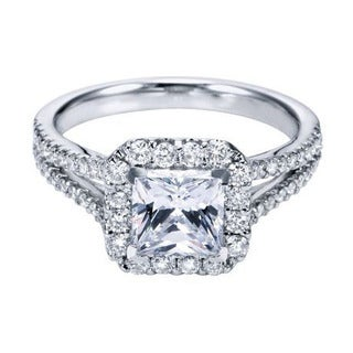 14k White Gold 1/4ct TDW Split Diamond and Cubic Zirconia Square Halo Engagement Ring (H-I, I1-I2)