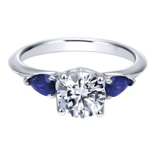 18k White Gold Pear-cut Blue Sapphire Cubic Zirconia Semi-mount Engagement Ring