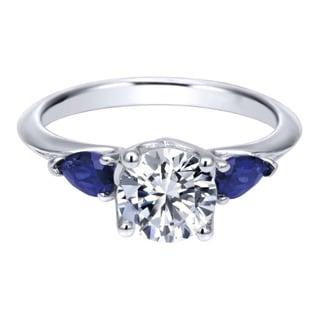 18k White Gold Pear-cut Blue Sapphire Cubic Zirconia Semi-mount Engagement Ring