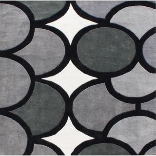 Alliyah Hand Made Grey New Zealand Blend Wool Rug 6Ft Sq