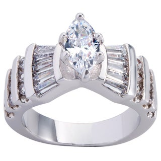 Simon Frank Platinum Based Rhodium Marquise-cut CZ Ring