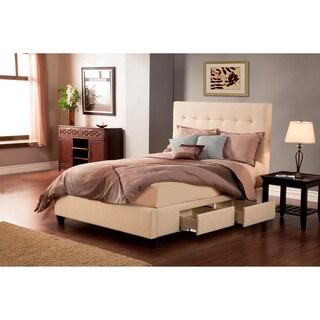 Manhattan Wheat/Beige 4 Drawer Upholstered Bed