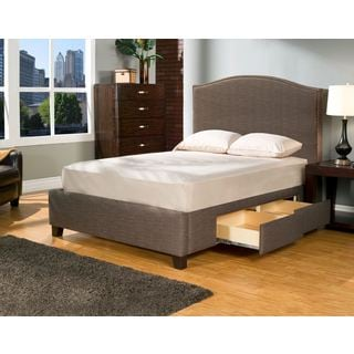 Newport Char-Brown 4 Drawer Upholstered Bed