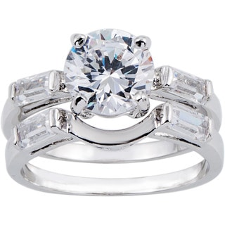 Simon Frank Rhodium 1.5 ct TDW CZ 2-piece Bridal Set