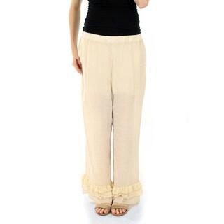Firmiana Women's Loose-fitting Long Beige Dress Pants with Ruffle
