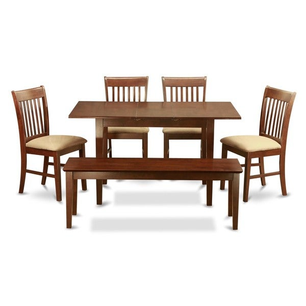 Table Leaf And 4 Seat Chairs And Dining Bench 6 Piece Dining Set