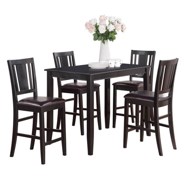 black counter height table and 4 kitchen counter chairs 5