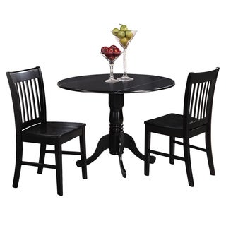 Black Kitchen Table Plus 2 Dinette Chairs 3-piece Dining Set