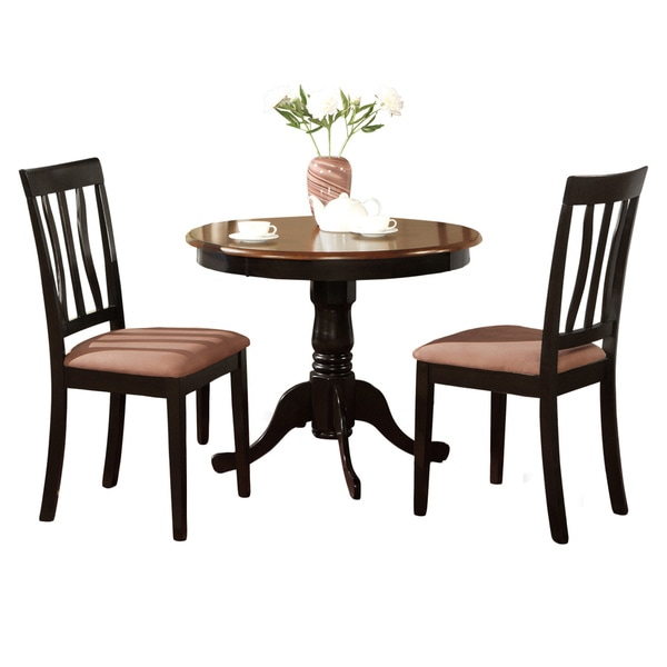 Black round kitchen table plus 2 dining room chairs 3 for Black kitchen table set