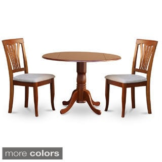Brown Round Kitchen Table and 2 Dinette Chairs 3-piece Dining Set