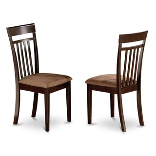 Cappuccino Capri Slat Back Chair with Upholstered Seat (Set of 2)