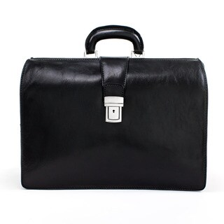 "Alberto Bellucci Unisex Italian Leather Toscana Double Compartment Lawyers Laptop 15.6"" Briefcase"