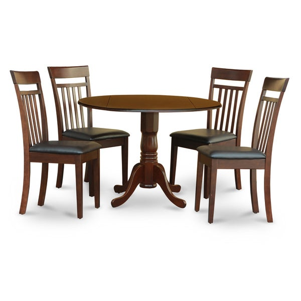 saddle brown round table plus 4 dinette chairs 5 piece dining set