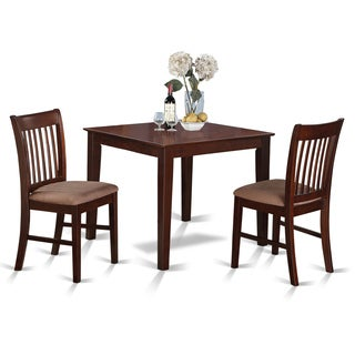 Mahogany Square Table and 2 Kitchen Chairs 3-piece Dining Set