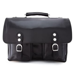 Alberto Bellucci Black Italian Leather Messenger Briefcase Bag