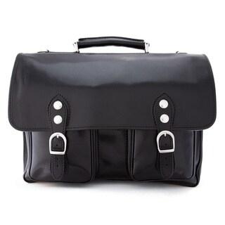 Alberto Bellucci Black Italian Leather Messenger Briefcase Bag