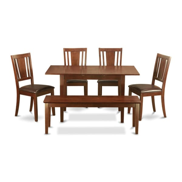 Mahogany Table Leaf And 4 Seat Chairs And Dining Bench 6 Piece Dining Set 17325173 Overstock