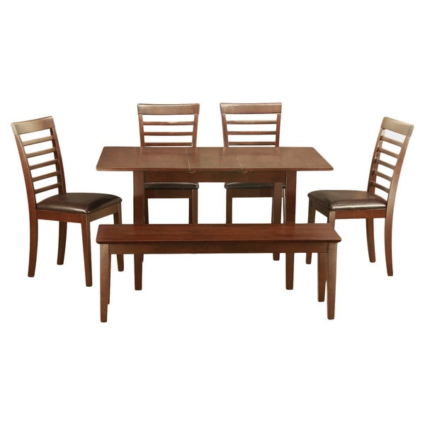 mahogany table and 4 dining room chairs plus bench 6 piece dining set
