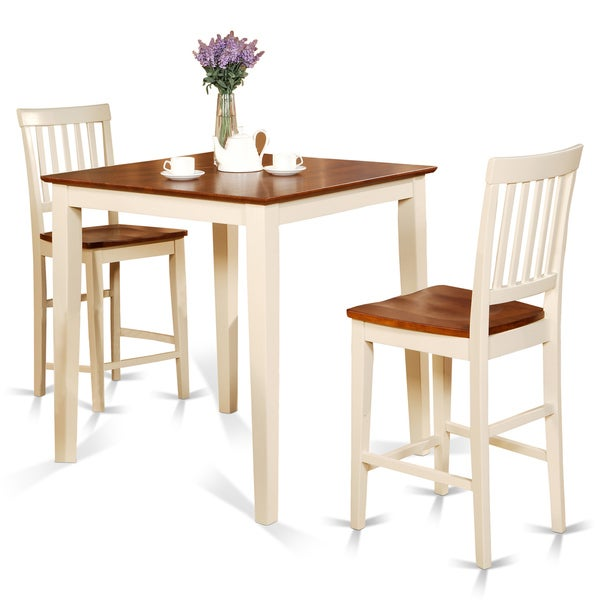 White Square Pub Table And 2 Counter Height Chairs 3 Piece Dining Set