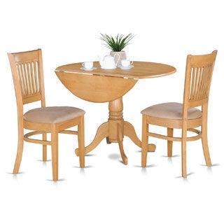 Oak Kitchen Table and 2 Slat Back Chairs 3-piece Dining Set