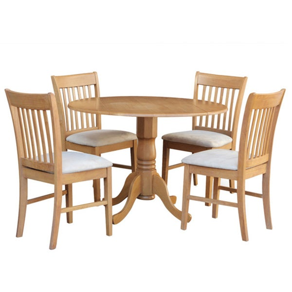 Oak round kitchen table and 4 chairs 5 piece dining set for 4 piece dining table set