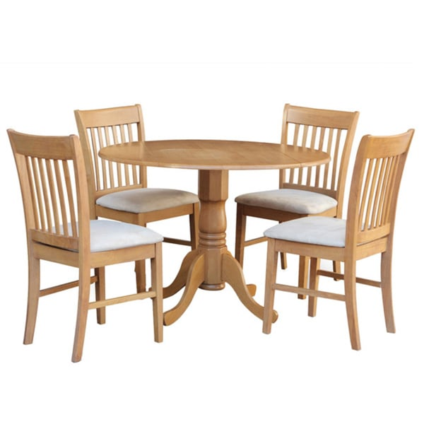 Oak round kitchen table and 4 chairs 5 piece dining set for 4 kitchen table chairs