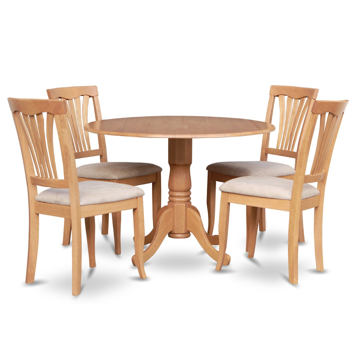 Oak round kitchen table and 4 kitchen chairs 5 piece for 4 piece dining table set