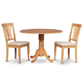 Oak Small Kitchen Table Plus 2 Dinette Chairs 3-piece Dining Set