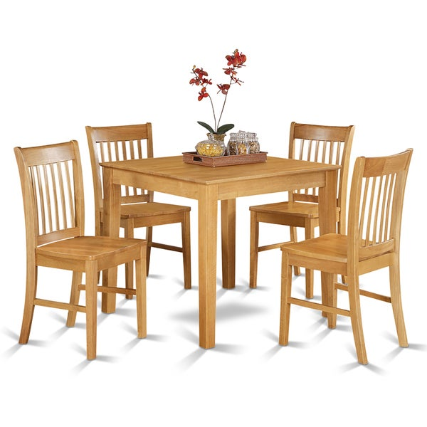 Oak square table and 4 kitchen chairs 5 piece dining set for Kitchen table with 4 chairs