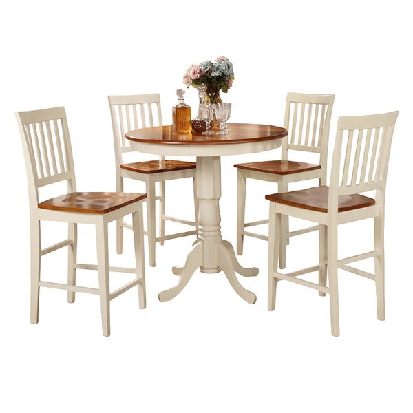 Buttermilk and Cherry High Table and Four Kitchen Chair 5-piece Dining Set