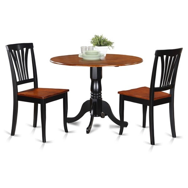 Black and cherry kitchen table and 2 kitchen chairs dining for Black kitchen table set