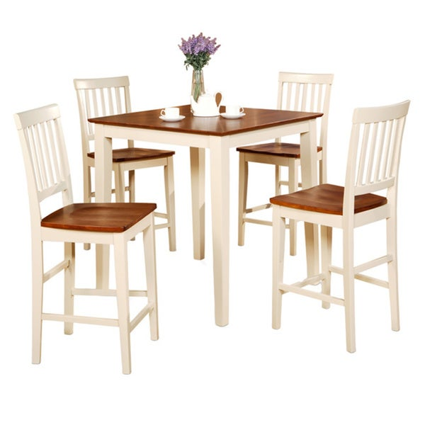 White Kitchen Tables And Chairs: Buttermilk And Cherry Square Pub Table And 4 Kitchen
