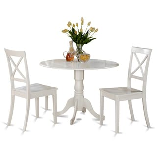 Linen White Table and 2 Chairs 3-piece Dining Set