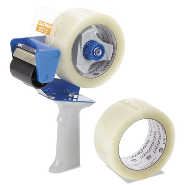 Universal One Carton Clear Sealing Tape w/Pistol Grip Dispenser (Pack of 2)