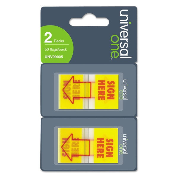 "Universal One ""Sign Here"" Arrow Yellow/Red Page Flags (Pack of 300 Flags/12 Dispensers)"
