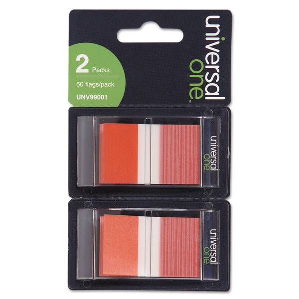 Universal One Red Page Flags (Pack of 300 Flags/6 Dispensers)