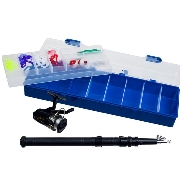 Set of 2 Telescopic Fishing Rods with Tackle Box Includes Tackle