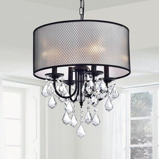 Jacinta Antique Bronze Metal Drum Shade Crystal Chandelier