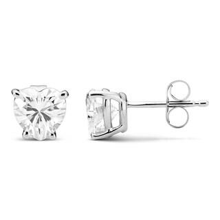 Charles & Colvard 14k White Gold 1.60 TGW Heart Forever Brilliant Moissanite Stud Earrings