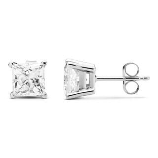 Charles & Colvard 14k White Gold 2.00 TGW Square Forever Brilliant Moissanite Stud Earrings