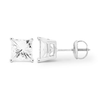 Charles & Colvard 14k White Gold 2.60 TGW Square Forever Brilliant Moissanite Stud Earrings