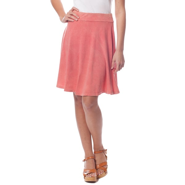 AtoZ Women's Antique Wash A-Line Skirt