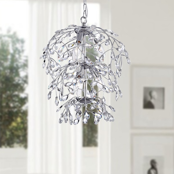 Holly Chrome Finish Crystal Leaves Chandelier