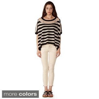 Dinamit Women's Pointelle Knit Stripe Sweater with a Dash of Sparkle