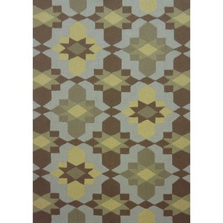 Geometric Brown Outdoor Rug (5' x 7')