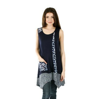 Firmiana Women's Sleeveless Blue Multi Tunic with Sidetails