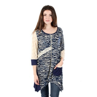 Firmiana Women's 3/4 Sleeve Blue Cream Tunic with Sidetails