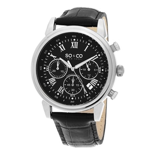SO&CO New York Men's Monticello Quartz Chronograph Leather Strap Watch